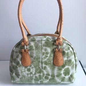 Buxton Cork Retro Tie Dye Green Leather Hobo Bag